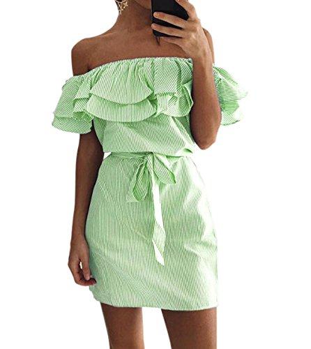 DINGANG - Vestido - Manga corta - para mujer Verde