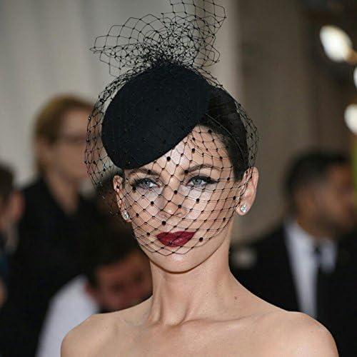 Hellery Sombrero de Plumas Artificiales con Velo Fascinator Tocado de Pelo Diadema de Novia para Fiesta de T/é C/óctel