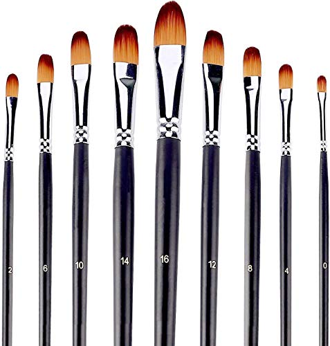 Artist Paint Brushes Set 9pcs Filbert Tipped Paint Brushes Set for Acrylic Watercolor Oil Painting,Long Handle