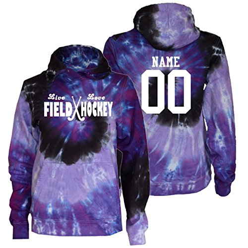 JANT girl Custom Field Hockey Tie Dye Sweatshirt - Live Love White Logo (Purple Twist, M)