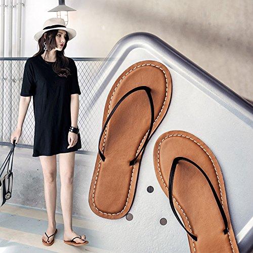ZPPZZP Mme sandales chaussons l'été de style coréen plat avec un fond plat pieds 38EU clip noir