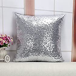 Decorative Glitzy Sequin & Comfy Satin Throw Pillow Cover Square Pillow Case, Hidden Zipper Design, 1 Cover Pack Only 16 Inch (Sliver)