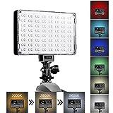 GVM LED Camera Light with Battery Dimmable Full Color RGB Video Light Panel CRI97+ 128SMD Bi-Color 2000K/5600K On Camera Photo Light for Video Photography Digital Camera Camcorde DSLR Lighting