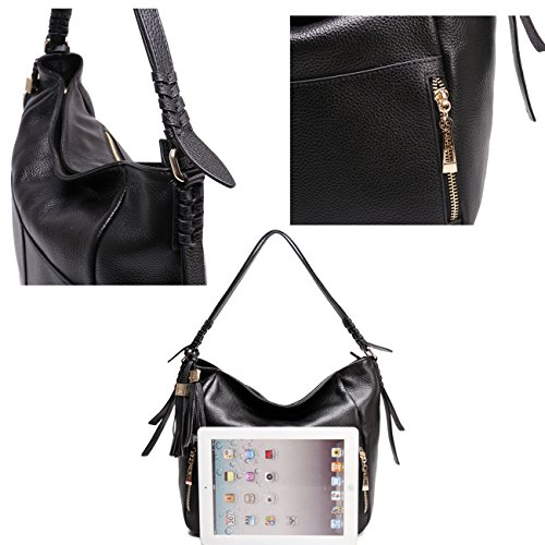Geya Women's Fashion Genuine Leather Handbag Shoulder Handbag with Imported Soft Hot Leather (Black) by Geya (Image #7)