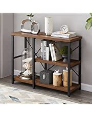 LIFUSTTG Industrial Console Table, Rustic Sofa Table for Living Room, Entrway Table with 3-Tier Open Shelf, Rustic Brown
