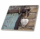 3dRose Wooden Heart Hanging on Old Barn Door Tile, 6 x 6''