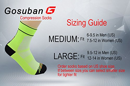 Gosuban Plantar Fasciitis Socks, Low Cut Compression sock(Fluorescent Green,Medium)