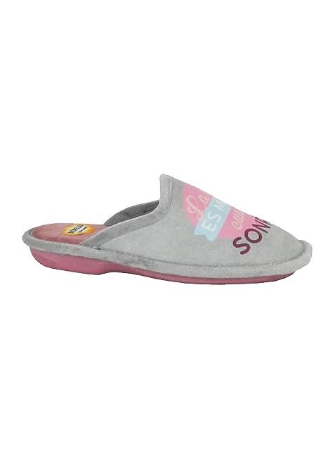 zapattu Zapatillas Biorelax - Zapatillas Casa con Frase - Gris, 41: Amazon.es: Zapatos y complementos