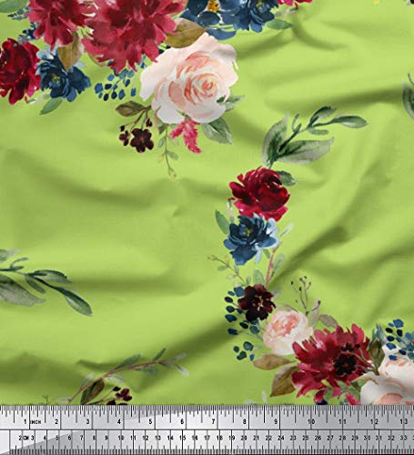 Green Voile Cotton - Soimoi Green Cotton Voile Fabric Ranunculus & Peony Floral Print Printed Fabric 1 Yard 42 Inch Wide