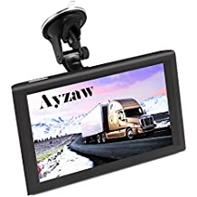 Ayzaw 9 inch 2 in 1 Truck GPS DVR Tablet Navigation System with Lifetime Map Free Updates,with Spoken Turn-By-Turn Directions,and Speed Limited Displays,Good for SUV or Truck