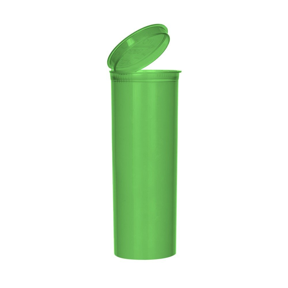 2.02'' x 5.33'' Opaque Neon Green Colored Pop Top Bottle 60 Dram (2 Boxes - 75 Containers per Box) - MJ-PVSG60
