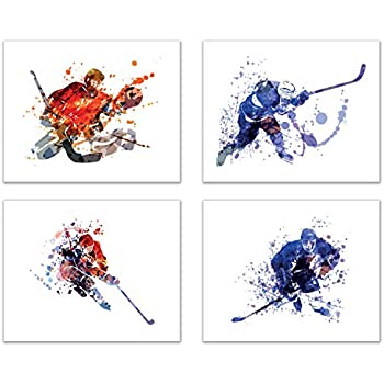 Summit Designs Ice Hockey Watercolor Wall Art Prints - Silhouette - Set of 4 (8x10) Unframed Poster Photos - Bedroom - Man Cave Decor