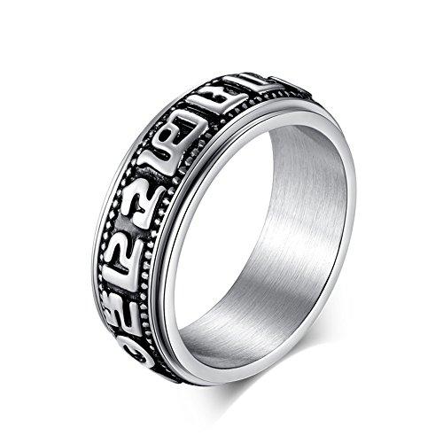 JAJAFOOK Stainless Tibetan Buddhist Six True Syllable Mantra Sanskrit Om Mani Padme Hum Spinner Ring (Tribal Design Ring Steel Spinner)