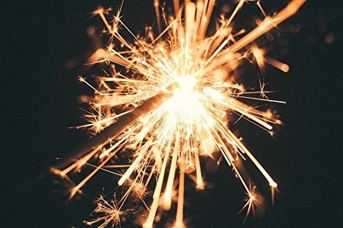 Gifts Delight LAMINATED 36x24 inches Poster: Sparkler Firework Celebration Fun Night Fire Flame Burning Bright Light Illuminated Sparks Outdoors