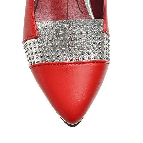 AllhqFashion Damen PU Leder Niedriger Absatz Spitz Zehe Ziehen auf Pumps Schuhe Rot