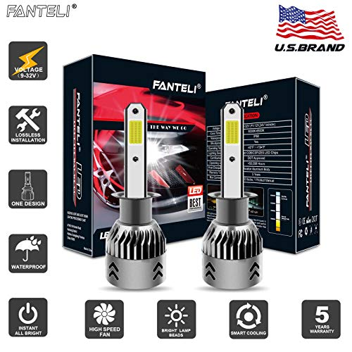 FANTELI H1 LED Headlight Bulbs All-in-One Conversion High Beam/Low Beam/Fog Lights Kit - 72W 8000LM 6000K Xenon HID Cool White Replacements - Adjustable Beam Pattern - 5 Years Warranty