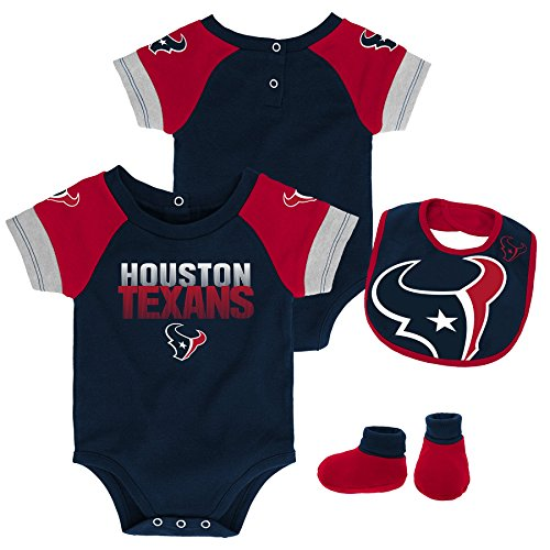 - Outerstuff NFL NFL Houston Texans Newborn & Infant 50 Yard Dash Bodysuit, Bib & Bootie Set Deep Obsidian, 6-9 Months