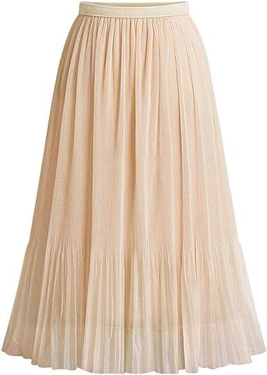 Sylar Faldas Plisadas Mujer Midi Falda Tul Mujer con Pretina ...