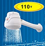 CORAL MAX 110V Electric Instant Hot Water Shower Head Heater + FREE wall support/tube Included (ducha electrica para agua caliente incluye nipple)