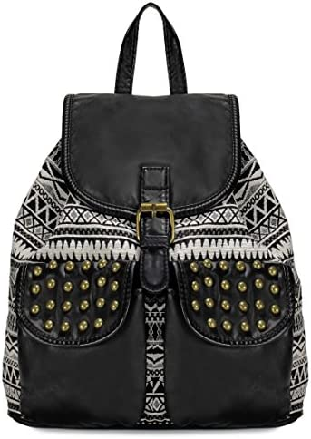 Scarleton Trendy Studded Jacquard Backpack H20030102 – Black Off White