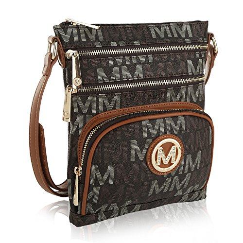 MKF Crossbody bag for women - Removable Adjustable Strap - Vegan leather Crossover Designer messenger Purse Brown ()