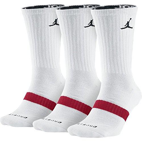 Nike Air Jordan Dri Fit Crew Socks White/Black 3 Pair