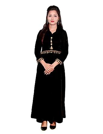 503803a4f1 Shruti & Mahi Women's Black Velvet Long Straight Casual Wear Kurti/Traditional/Ethenic  wear