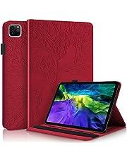 TTNAO Hoesje voor iPad Pro 11 inch 2020&2018 Case,Ultra-Delgado Smart PU-lederen Flip Folio Portemonnee Cover Krasbestendige Schokbestendige Telefoonhoes,Levensboom(Rood)