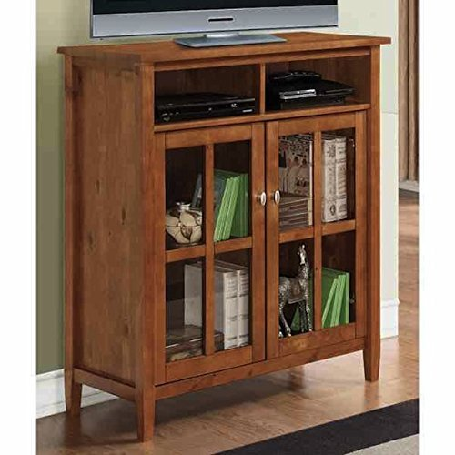 WYNDENHALL Norfolk Honey Brown Medium Storage Wood Media Cabinet & Buffet
