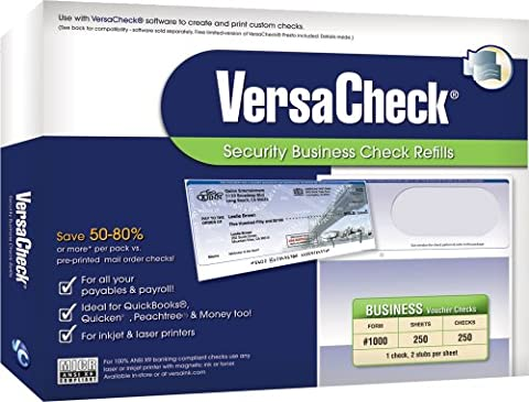 VersaCheck Security Business Check Refills: Form #1000 Business Voucher - Blue - Premium - 250 Sheets