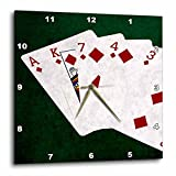 3dRose Alexis Photo-Art - Poker Hands - Poker Hands Flush Diamonds - 13x13 Wall Clock (dpp_270314_2)