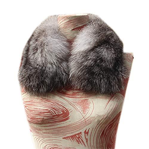 - Gegefur Genuine Women's Fox Fur Scarf Shawl Collar Warm Black Shawl (Silver blue)