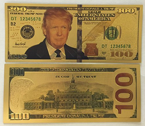 (Authentic $100 President Donald Trump Authentic 24kt Gold Plated Commemorative Bank Note Collectors Item by Aizics Mint)