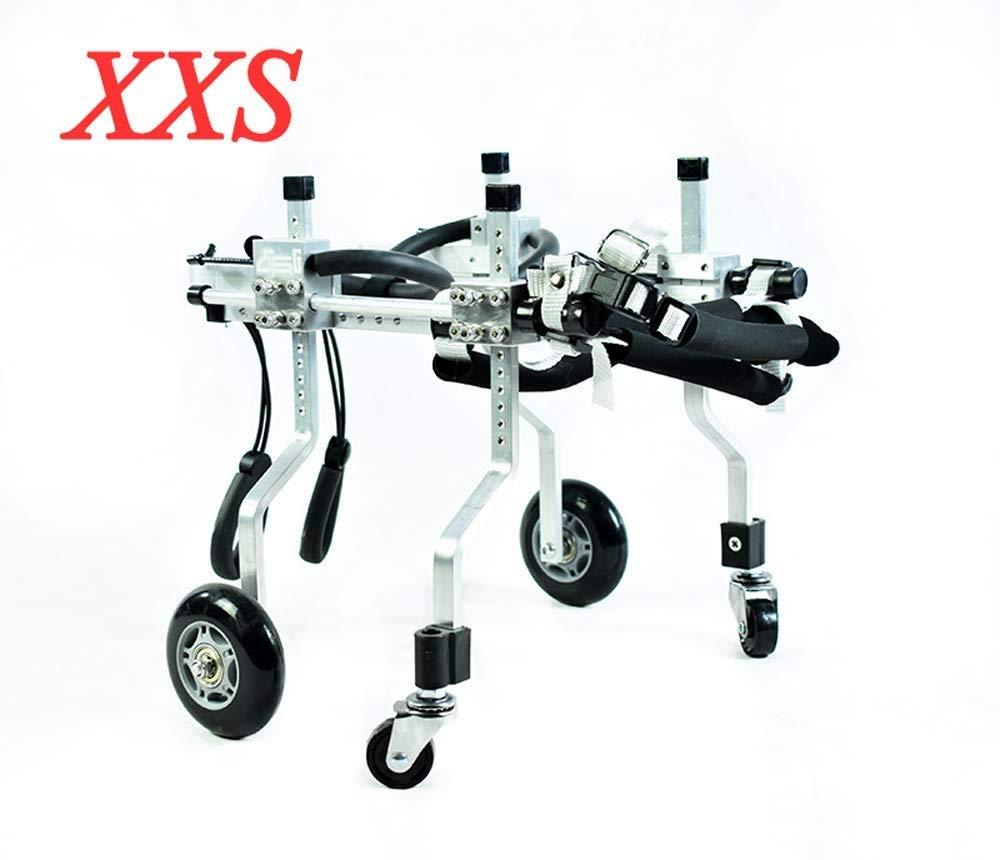 携帯用調節可能ペット用車椅子 - 犬用カート(XXS-XXL)、背の高さ18-75 cm、体重160 kg、後脚の修理、軽量アルミニウム合金 で入手可能 (サイズ さいず : XXS-01) B07QRFR55R  S-02 S-02