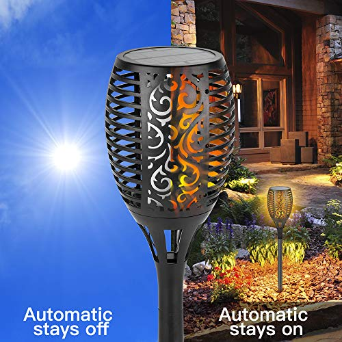 Solar Light Outdoor Shinmax Flickering Flames Torch Light 96 LED Auto On/Off Dusk to Dawn IP65 Lights for Outdoor Waterproof Garden Pathway Patio Driveway Lights (4 Packs) by Shinmax (Image #4)