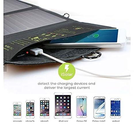 Amazon.com: Cargador solar USB de carga rápida, 5 V, 21 W ...