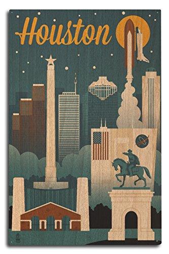 - Lantern Press Houston, Texas - Retro Skyline (10x15 Wood Wall Sign, Wall Decor Ready to Hang)