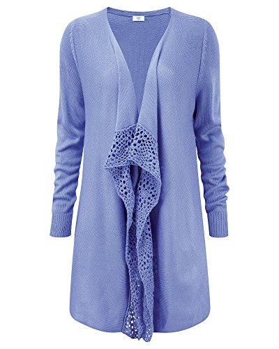 s Ladies Wrap Crochet Trim Casual Cardigan Knitwear Violet Sky 10 ()