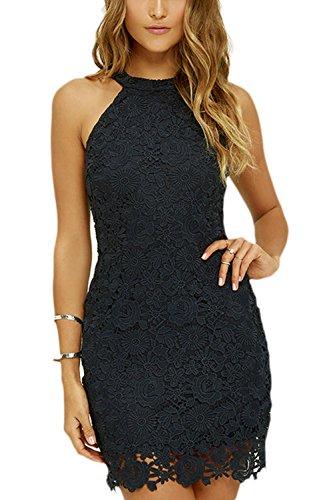 La Mujer Elegante Cuello Redondo Cortado Bodycon Mini Vestido De Encaje De Ganchillo De Slim negro