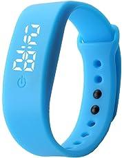 Delleu, mini orologio da polso, moderno, per uomini, donne, studenti, bambini, adatto per lo sport, a LED, elettronico, in silicone blu blue