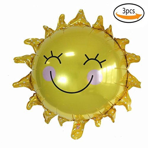 BinaryABC Sun Flower Foil Balloons Smile Face Mylar Balloon for Party Decoration,3PCS,Yellow