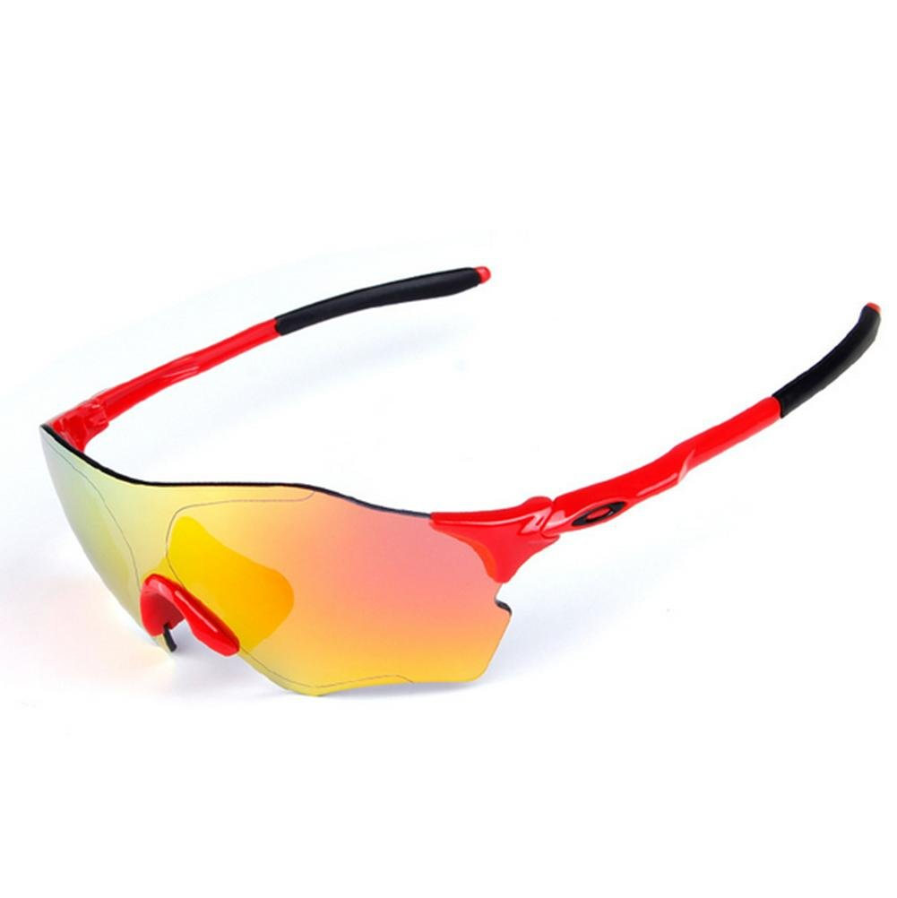DZW Männer und Frauen Sport im freien Windschutzscheibe Goggles Schutzbrille Brille Sportbrille Reiten , ROT schwarz + ROT lens