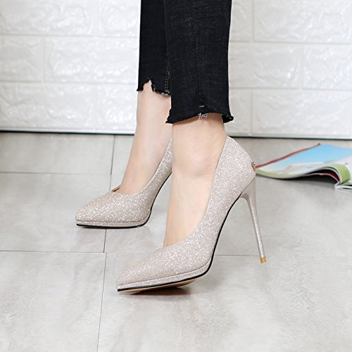 10Cm Mouth Heel Lady Heels MDRW High Shoes Fine Sharp Waterproof Single Gold Women'S Shoe Work Leisure Head Shallow Platform 38 Spring Elegant Uwqwv8d