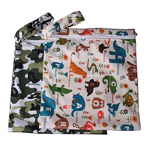 tmodd bebé impermeable Zipper Bolsa lavable reutilizable gamuza de bebé bolsa de pañales patrón de W/de flores y animales, color beige