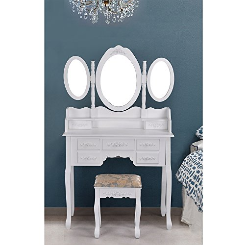 Ihouse Makeup Table Sets With 7 Storage Drawers Stool Set 3 Mirror,White - Free Time Dresser Mirror