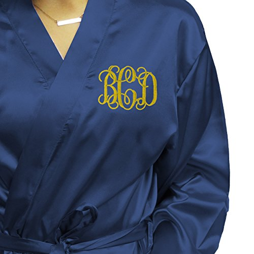 My Personal Memories Monogrammed Satin Bridesmaid Kimono Robe Gift - Wedding Bridal Party Robes - Women's Bathrobe - Custom Personalized for Free (Small/Medium, Navy Blue) by My Personal Memories