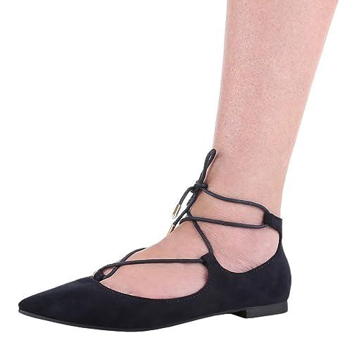 Damen Schuhe, A231, PUMPS SCHNÜR BALLERINAS