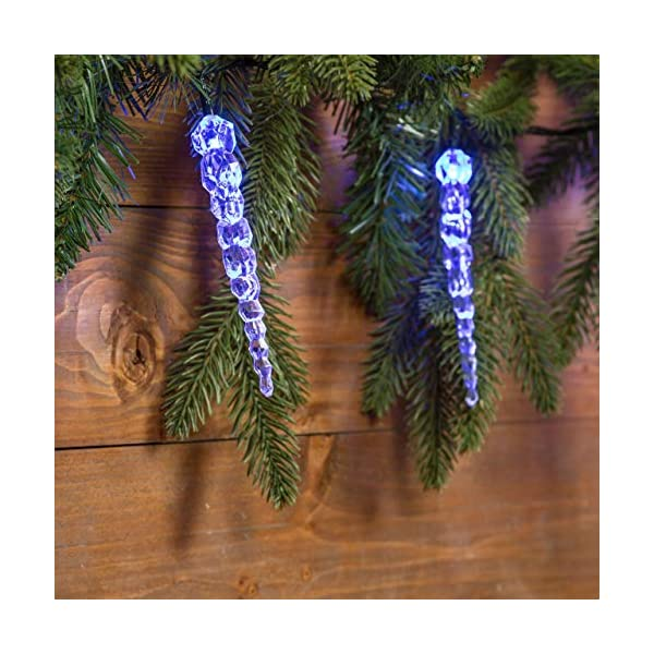 XMASKING Catena 8 m, 40 LED Blu con Decorazione Ghiaccioli, Cavo Verde, Decorazioni Luminose, luci di Natale, luci Decorative, Catene Luminose, luci Natalizie, Effetto Ghiaccio 4 spesavip