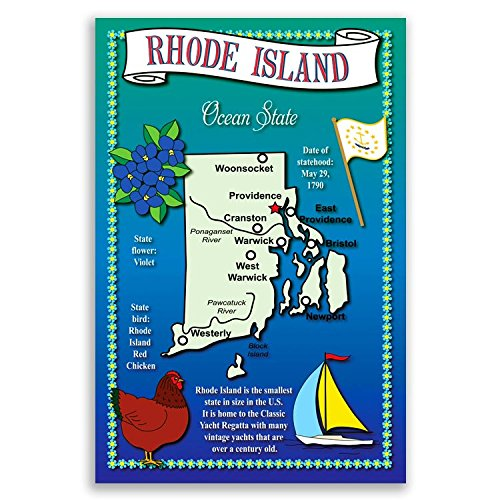 RHODE ISLAND STATE MAP postcard set of 20 identical postcards. Post cards with RI map and state symbols. Made in USA.