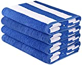 Utopia Towels Premium Quality Cabana Beach Towels - Pack of 4 Cabana Stripe Pool Towels (30 x 60 Inches) - Multi Purpose Towels with High Absorbency